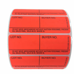 Style 9 Fluorescent Red Lotting Labels - Super Stick (1000/roll)