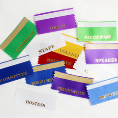 "Name Badge ""Add-On"" Ribbons for Events - Packs of 25 per legend."