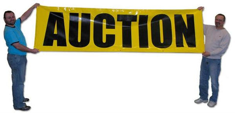 "Black on Yellow ""Auction"" Banners (3 foot by Several options)"