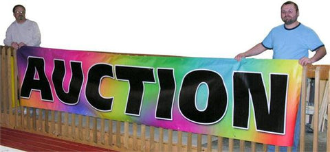 "Black on Multicolor ""Auction"" Banners (3 foot by Several options)"
