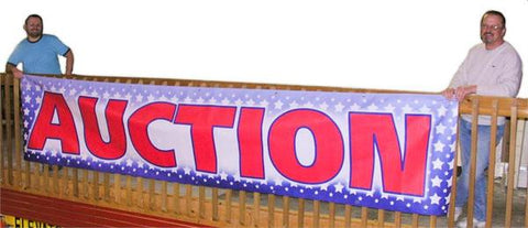 "Red, White & Blue ""Auction"" Banners (3 foot by Several options)"