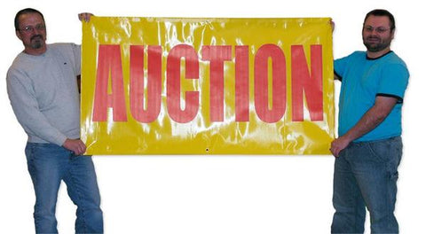 "Red on Yellow ""Auction"" Banners (3 foot by Several options)"