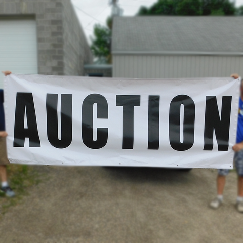 "Black on White ""Auction"" Banners (4 foot by Several options)"