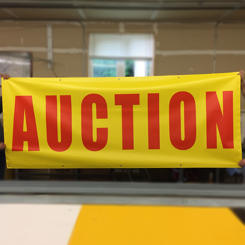 "Red on Yellow ""Auction"" Banners (4 foot by Several options)"