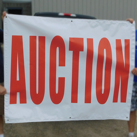 "Red on White ""Auction"" Banners (4 foot by Several options)"