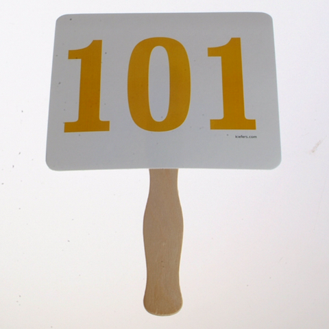 Colored Number Bid Paddles, Stock (100/pack) Several colors