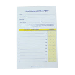 Donation Solicitation Form, 1 or 2 Part (25/pack)| Form| Single Part Form