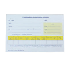 Auction Event Volunteer Sign-Up Form (25/pack)| Form| Single Part Form