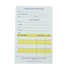On-Site Numbered Donation Intake Receipts 2 or 3 Part (25/pack)| Style| 2 Part NCR - $5.65