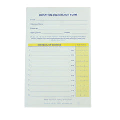 Donation Solicitation Form, 1 or 2 Part (25/pack)| Form| 2 Part Form