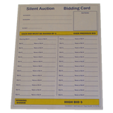 "100 Silent Auction Full Page Bid Sheets (8-1/2"" x 11"") 2 part"
