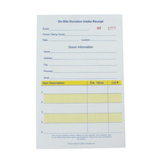 On-Site Numbered Donation Intake Receipts 2 or 3 Part (25/pack)| Style| 3 Part NCR - $8.25