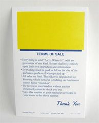 Econo Bid Cards w/ Terms of Sale (500/pack) Yellow Square
