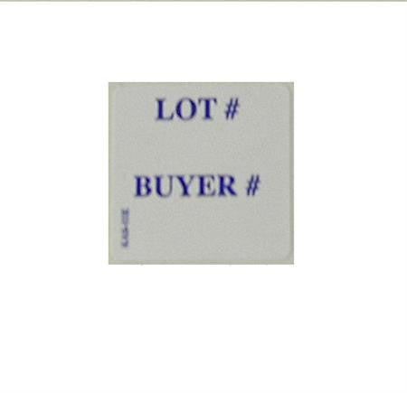 "1"" x 1"" LOT # / BUYER # Label, E-Z Off or Super Stick (1000/roll)"