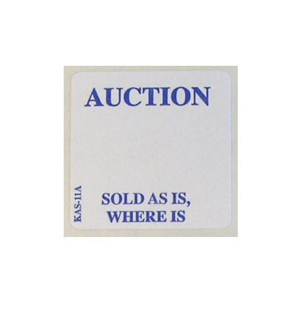 "1"" x 1"" AUCTION Label (1000/roll) <Br>EZ Off or Superstick"