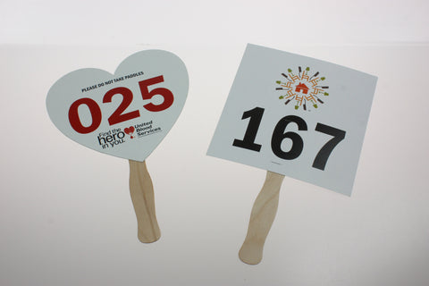Custom Shape Bid Paddle, Full Color, Numbered (100)