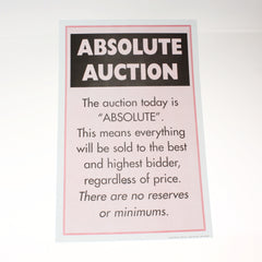 Absolute Auction 11 x 17 Laminated Sign