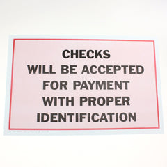 Checks Accepted 11 x 17 Laminated Sign