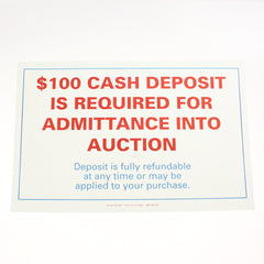 Cash Deposit Required 11 x 17 Laminated Sign