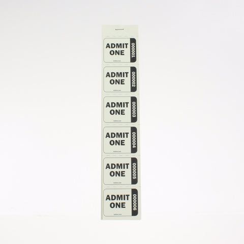 """Admit One"" Numbered Strip Tickets (240/book)"