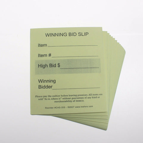 Winning Bid Slip (100/pack) 2 part