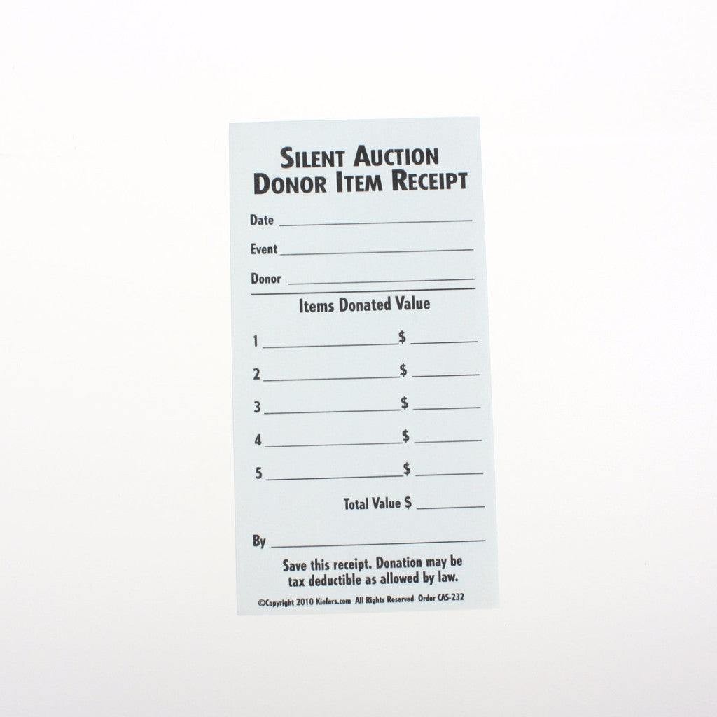 silent auction donation receipt donation slip kiefer auction supply