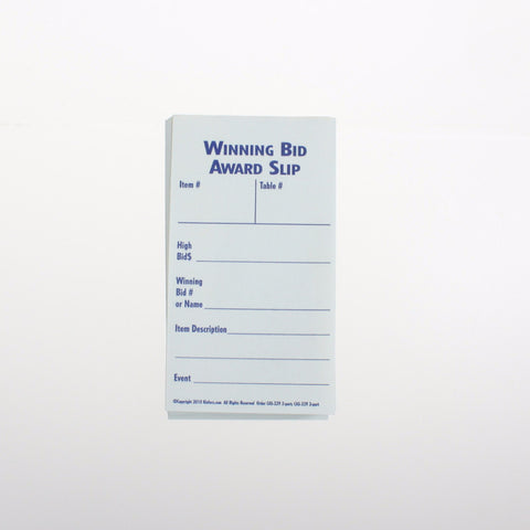 Winning Bid Award Slip, 1, 2 or 3 part