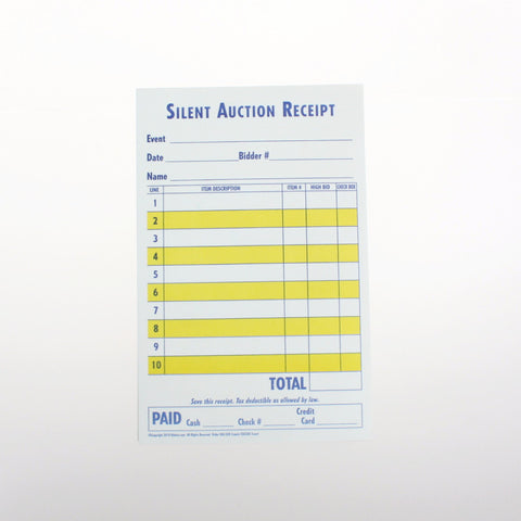 Silent Auction Receipt, 2 or 3 Part