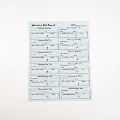 Perforated Full Page Winning Bid Slips (10/pack) 1 or 2 part