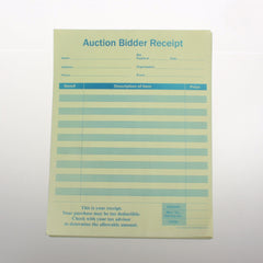 Auction Bidder Receipt (100/pack) 2 part