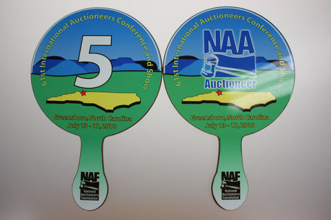 Full Color, Numbered PRO Bid Paddle (2 sided, different print)
