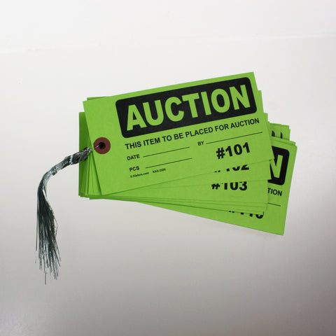 Hi-Vis AUCTION or SURPLUS Numbered Tags (Pack of 200) wired