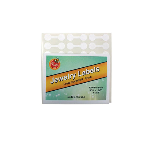 White Tyvek Dumbbell Labels (Pack of 1000) 2 Sizes