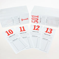 Pre-Numbered Stock Bid Cards w/ Purchase Notes<br>(500/pack) Red #/Black Ink