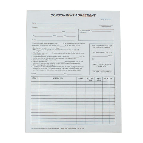 Consignment Agreement (1 or 2 part)