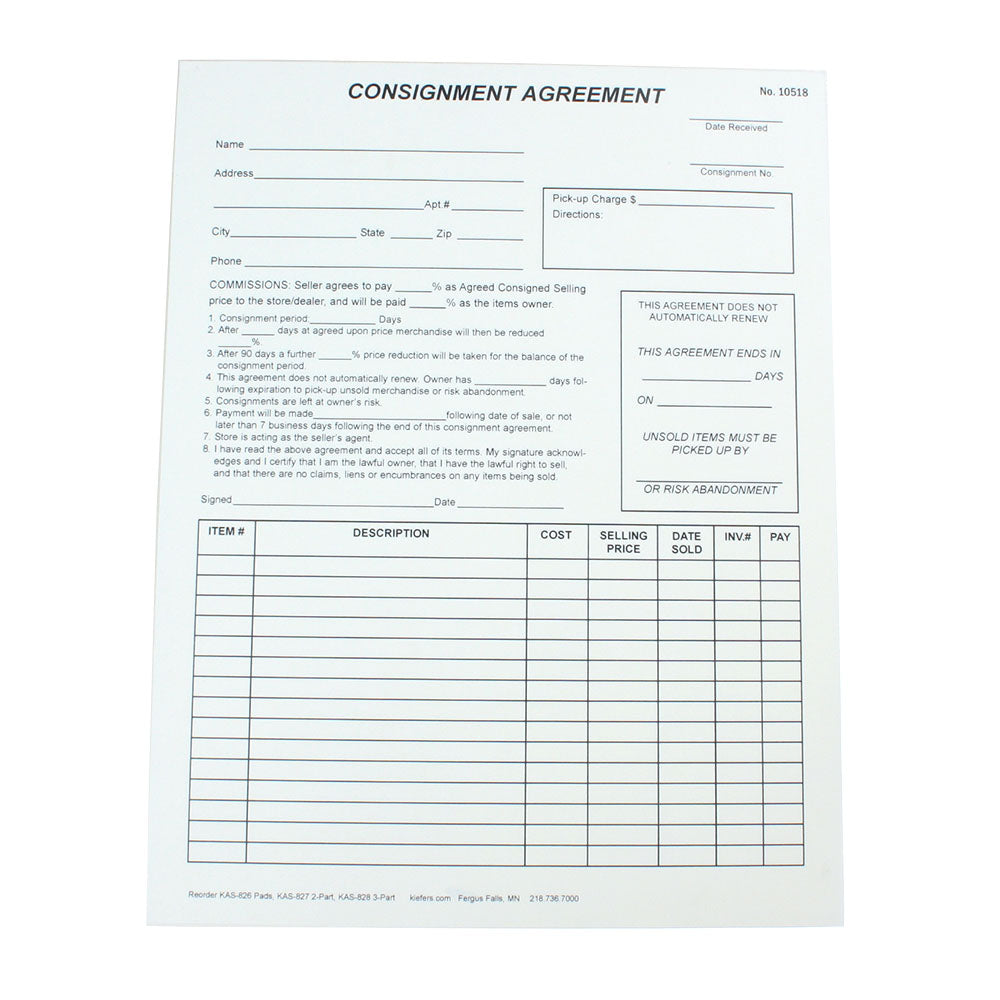 Consignment Agreement 1 Or 2 Part