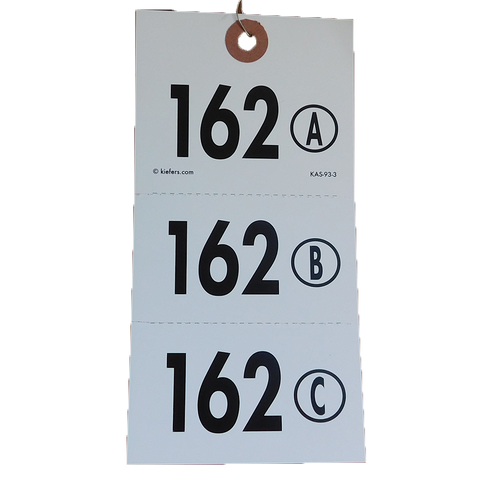 A/B or A/B/C Numbered Combo Tag with Perforated Stub - Wired (500/box)