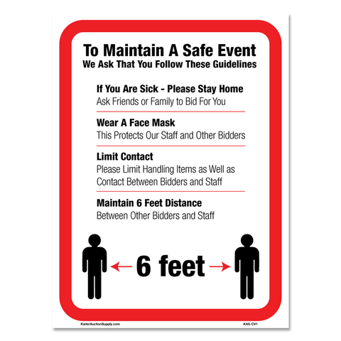 NEW Social Distancing/Covid Auction Conduct Signs (Pack of 3)