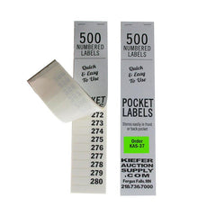 NEW Numbered Pocket Labels (500 per book)