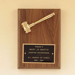 Award Plaque with Metal Goldtone Gavel