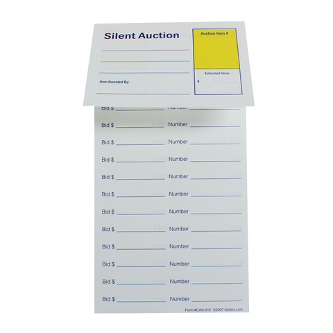 "Silent Auction Item Bidding Slip  ( Size is 4-1/4"" x 8-1/2"")"