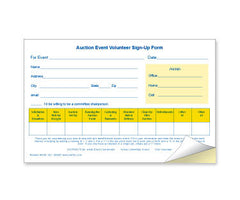 Auction Event Volunteer Sign-Up Form