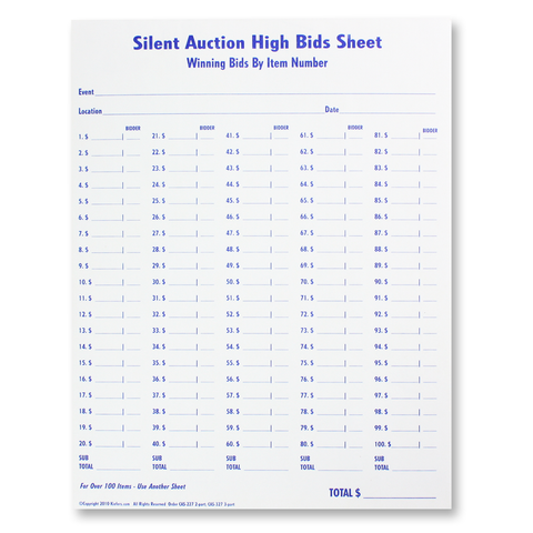 High Bid Sheets (10 sheets/pack) 2 or 3 part