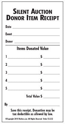 Silent Auction Donation Receipt Donation Slip Kiefer