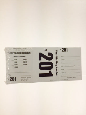 3-In-1 Donation/Registration/Bid Number Card (100/pack)