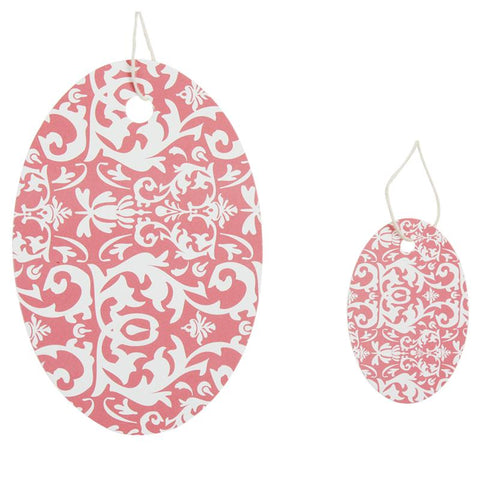 Pink Oval Damask Tag (Box of 100) 2 Sizes