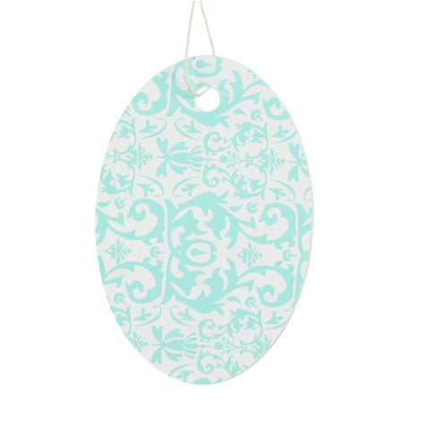 Aqua Oval Damask Tag (Box of 100) 2 Sizes