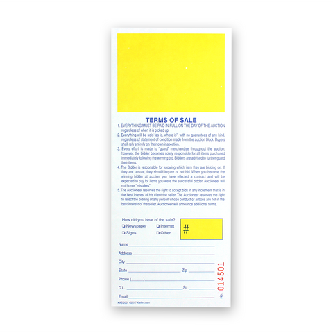 Registration Stub Bid Cards (500/pack) Yellow Square