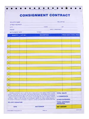 Standard Consignment Form, 3 part (100/pack) | KieferAuctionSupply