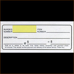 12 Ticket Clerk Sheets, Style A w/ CUSTOM BACKSIDE PRINT (500/pack)